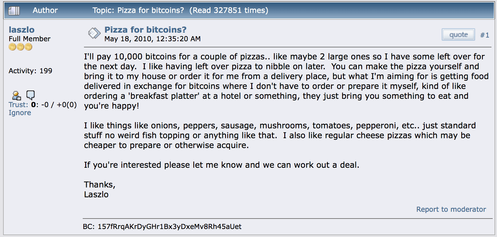 A screenshot of the original Bitcoin Pizza reddit post