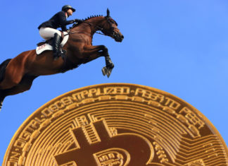 A horse jumps over an artist rendering of a bitcoin.